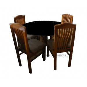 GW Teakwood Dining Table With Glass With Chairs 4*4
