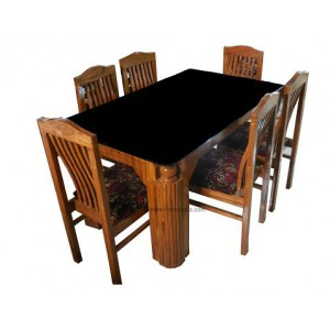 GW Teakwood Dinning Table Lattu With 6 Chairs
