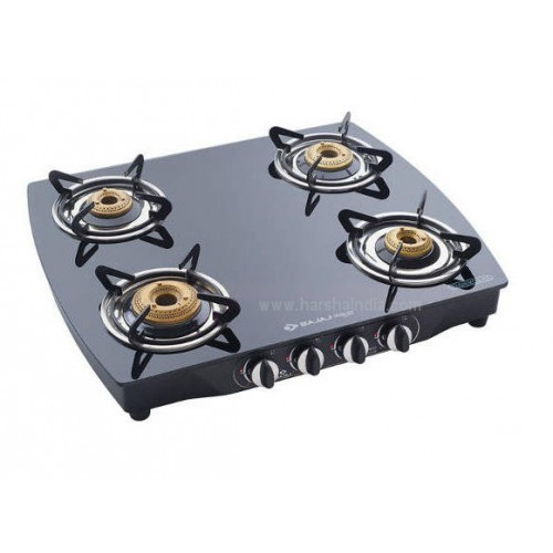 Bajaj Gas Stove Glass Top 4 Burner CGX10 SS Curved Body