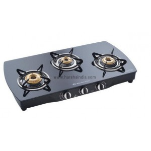 Bajaj Gas Stove Glass Top 3 Burner CGX9 SS Curved Body