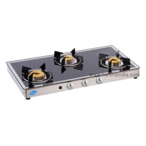 Glen Gas Stove Glass Top 3 Burner GL-1038 Forged Brass Burner Mirror Auto Ignition