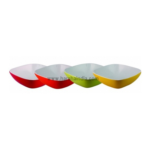 Borosil Melamine Ware Square Bowl Double Colour 6