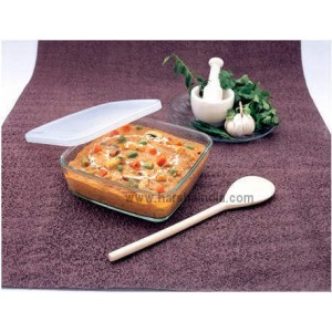 Borosil INT Glass Square Dish 800ML With Plastic Lid