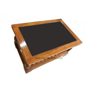 Teakwood Teapoy Spring Kamal Top Glass Large