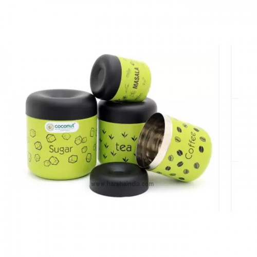 Coconut SS TCS Colour Canister Set Green
