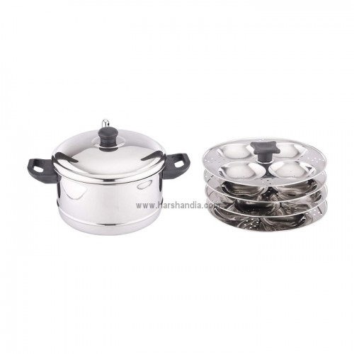 Coconut SS Plain Idly Cooker 4 Plates+SS Triply Sauce Pan 1500ml